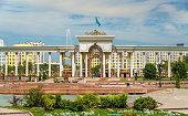 Colonnade at the entrance to the Park of the First President of Kazakhstan in Almaty