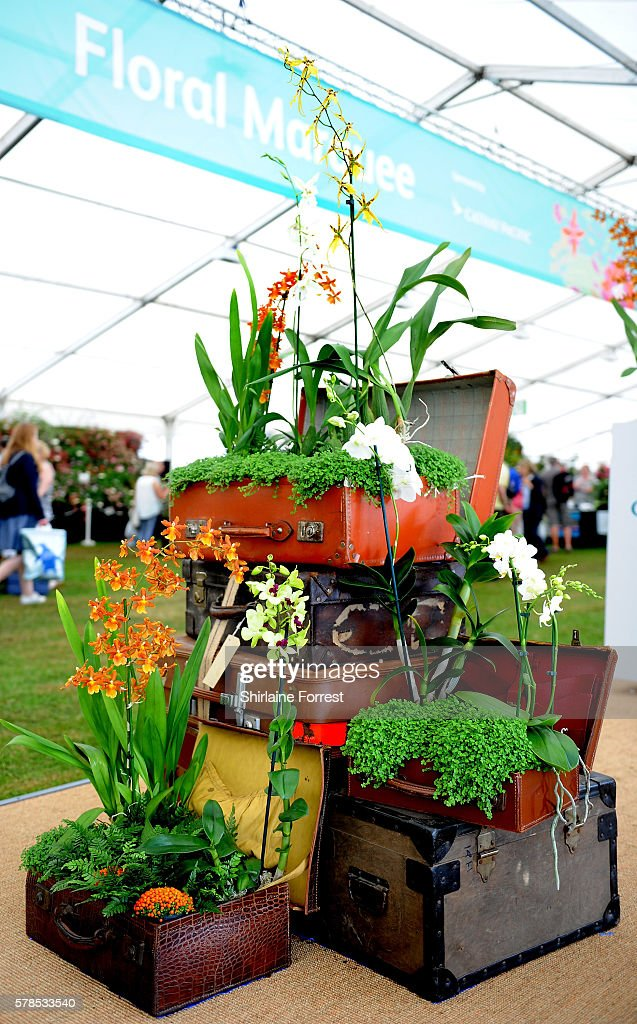 Entrance to the Floral Marquee during the RHS Flower Show at Tatton Park on July 21 2016 in Knutsford England