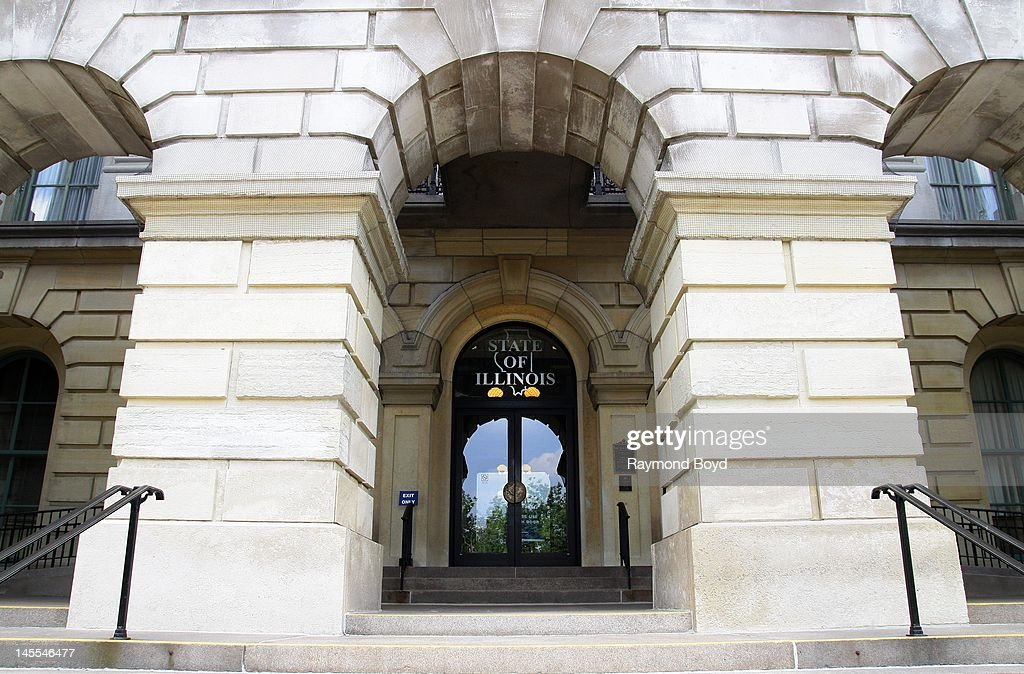 Entrance to the Illinois State Capitol Building in Springfield Illinois on MAY 05 2012