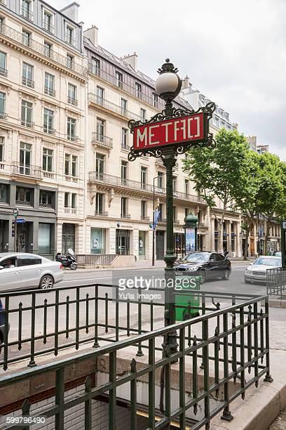 Entrance to the underground Metro in Paris