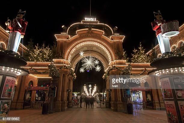 Entrance to Tivoli Amusement Park at Night