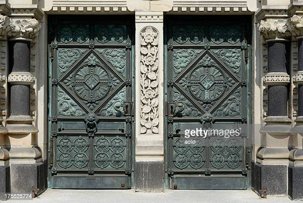 Entrance / verdigris doors