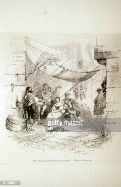 Entrée d'une auberge en Catalogne au XIXè siècle Espagne