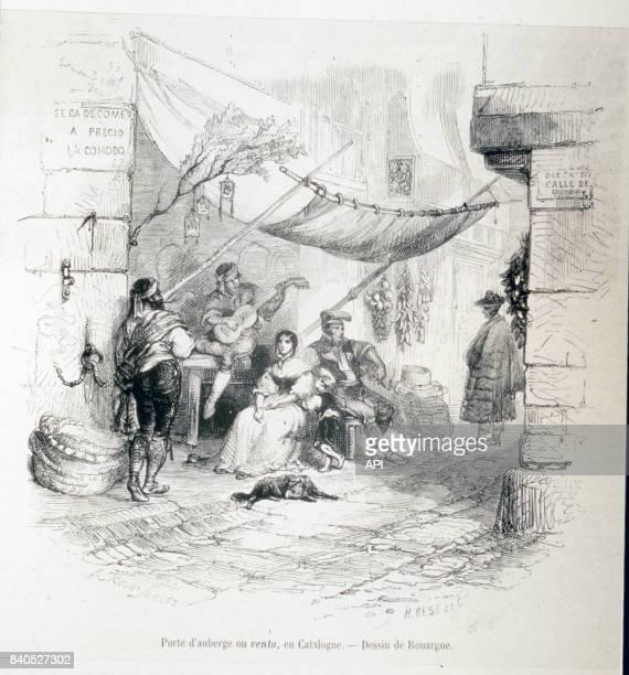 Entrée d'une auberge en Catalogne illustration parue dans le 'Le Magasin pittoresque' en 1867 France