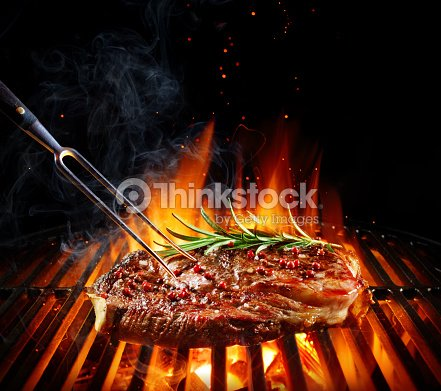 Entrecote Beef Steak On Grill With Rosemary Pepper And Salt : Stock Photo