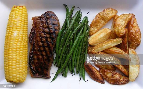 Entrecote with corn, haricot verts and ovenroasted
