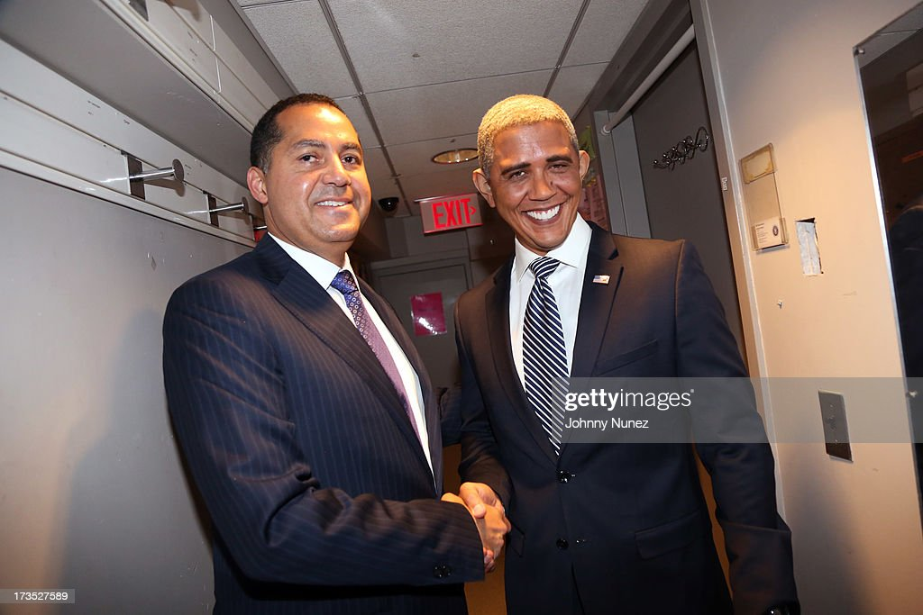 Entrepreneur and activist R. Donahue Peebles and President <a gi-track='captionPersonalityLinkClicked' href=/galleries/search?phrase=Barack+Obama&family=editorial&specificpeople=203260 ng-click='$event.stopPropagation()'>Barack Obama</a> impersonator Louis Ortiz attend the New York County Democratic Committee Award Ceremony at American Airlines Theater on July 15, 2013 in New York City.