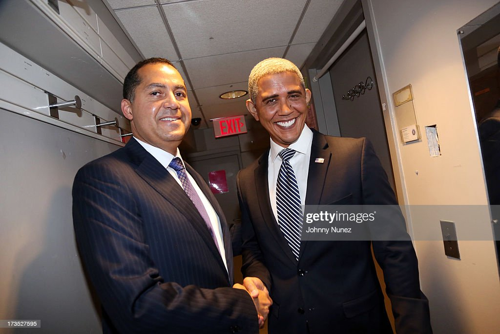 Entrepreneur and activist R. Donahue Peebles and President Barack Obama impersonator Louis Ortiz attend the New York County Democratic Committee Award Ceremony at American Airlines Theater on July 15, 2013 in New York City.