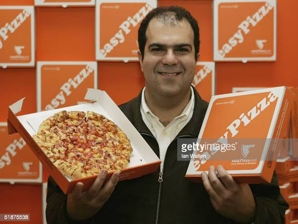 Entrepreneur and chairman of easyjet Stelios HajiIoannou launches easyPizza a deliveryonly pizza franchise opened as the latest 'easy' venture by...