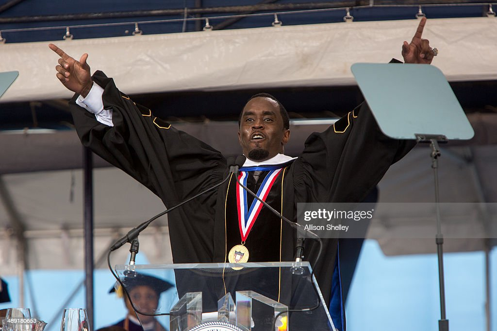 Entrepreneur and philanthropist Sean 'Diddy' Combs delivers the commencement speech at Howard University's 146th commencement exercises on May 10...
