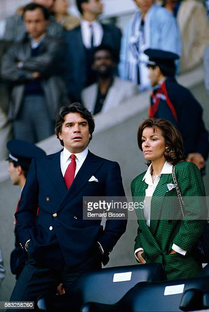 Entrepreneur Bernard Tapie and his wife attend the French Cup soccer game Marseille vs Bordeaux