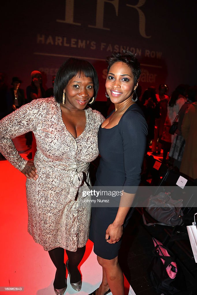 Entrepreneur Bevy Smith and marketing executive Tavia Pitts attend Harlem's Fashion Row Presentation during Fall 2013 Mercedes-Benz Fashion Week at The Apollo Theater on February 7, 2013 in New York City.