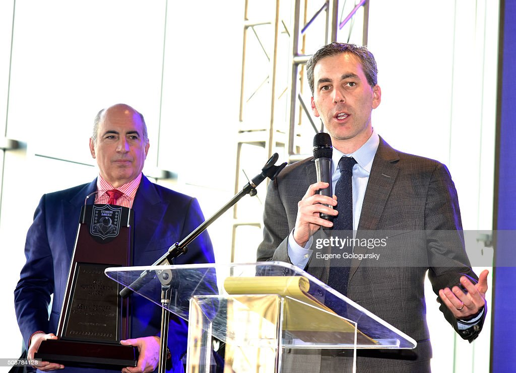 Entrepreneur Cosmo DeNicola and Executive Vice President of Football Operations & Chief Operating Officer of the Los Angeles Rams Kevin Demoff onstage during the 29th Annual Leigh Steinberg Super Bowl Party on February 6, 2016 in San Francisco, California.