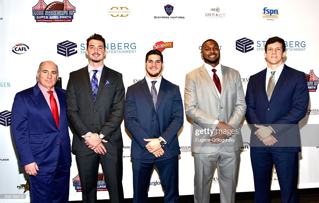 Entrepreneur Cosmo DeNicola, and football players <a gi-track='captionPersonalityLinkClicked' href=/galleries/search?phrase=Paxton+Lynch&family=editorial&specificpeople=11353849 ng-click='$event.stopPropagation()'>Paxton Lynch</a>, Dan Vitale, Jonathan Woodard, and Steven Scheu attend the 29th Annual Leigh Steinberg Super Bowl Party on February 6, 2016 in San Francisco, California.