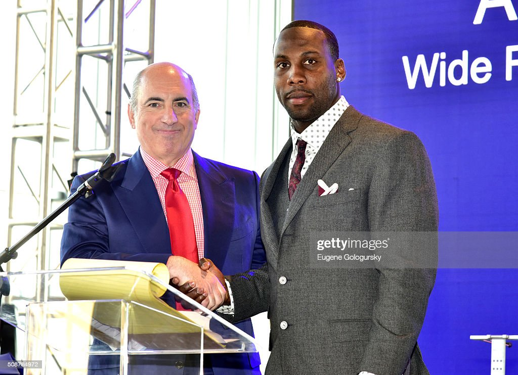 Entrepreneur Cosmo DeNicola and professional football player <a gi-track='captionPersonalityLinkClicked' href=/galleries/search?phrase=Anquan+Boldin&family=editorial&specificpeople=182484 ng-click='$event.stopPropagation()'>Anquan Boldin</a> pose onstage during the 29th Annual Leigh Steinberg Super Bowl Party on February 6, 2016 in San Francisco, California.