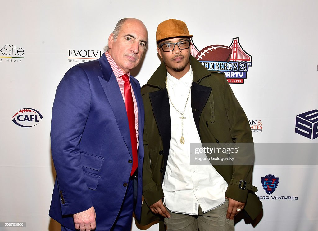 Entrepreneur Cosmo DeNicola and rapper <a gi-track='captionPersonalityLinkClicked' href=/galleries/search?phrase=T.I.&family=editorial&specificpeople=221599 ng-click='$event.stopPropagation()'>T.I.</a> (aka Clifford Joseph Harris, Jr.) attend the 29th Annual Leigh Steinberg Super Bowl Party on February 6, 2016 in San Francisco, California.