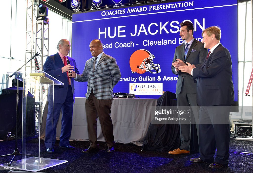 Entrepreneur Cosmo DeNicola, NFL head coach <a gi-track='captionPersonalityLinkClicked' href=/galleries/search?phrase=Hue+Jackson&family=editorial&specificpeople=2287912 ng-click='$event.stopPropagation()'>Hue Jackson</a>, football player <a gi-track='captionPersonalityLinkClicked' href=/galleries/search?phrase=Paxton+Lynch&family=editorial&specificpeople=11353849 ng-click='$event.stopPropagation()'>Paxton Lynch</a>, and sports agent <a gi-track='captionPersonalityLinkClicked' href=/galleries/search?phrase=Leigh+Steinberg&family=editorial&specificpeople=221448 ng-click='$event.stopPropagation()'>Leigh Steinberg</a> onstage during the 29th Annual <a gi-track='captionPersonalityLinkClicked' href=/galleries/search?phrase=Leigh+Steinberg&family=editorial&specificpeople=221448 ng-click='$event.stopPropagation()'>Leigh Steinberg</a> Super Bowl Party on February 6, 2016 in San Francisco, California.