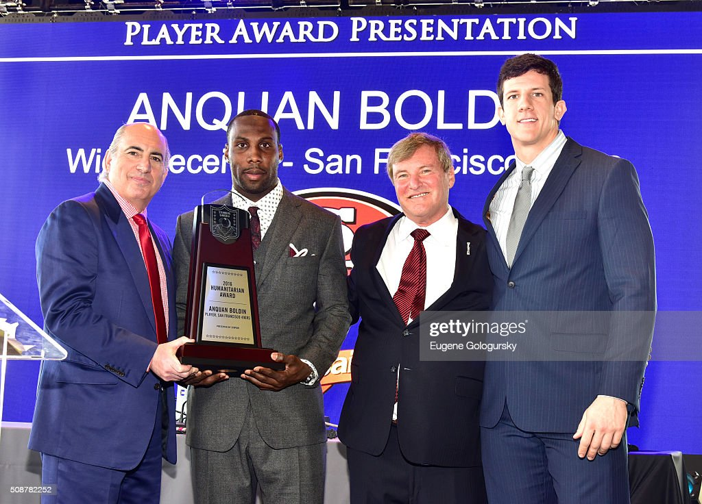 Entrepreneur Cosmo DeNicola, professional football player Anquan Boldin, sports agent Leigh Steinberg, and football player Steven Scheu pose onstage during the 29th Annual Leigh Steinberg Super Bowl Party on February 6, 2016 in San Francisco, California.