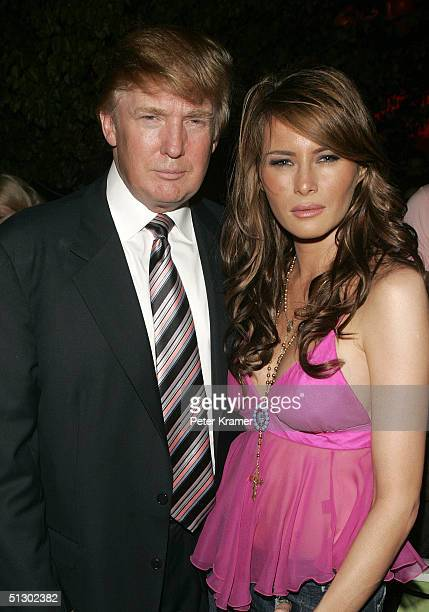 Entrepreneur Donald Trump and Melania Knauss attend the Marc Jacobs after party during Olympus Fashion Week Spring 2005 on September 13 2004 at pier...