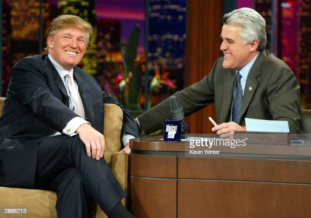 Entrepreneur Donald Trump on 'The Tonight Show with Jay Leno' on January 13 2004 at the NBC Studios in Burbank California Photo by Kevin Winter/Getty...
