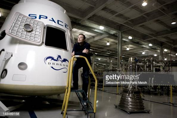 Entrepreneur engineer and inventor Elon Musk is photographed with the Dragon spacecraft at SpaceX headquarters for Paris Match on October 30 on 1...