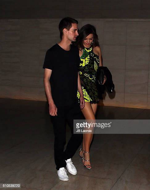 Entrepreneur Evan Spiegel and model Miranda Kerr attend Warner Music Group's annual Grammy celebration at Milk Studios Los Angeles on February 15...