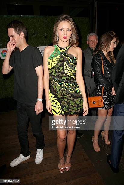 Entrepreneur Evan Spiegel and Model Miranda Kerr attends the Republic Records Grammy Celebration presented by Chromecast Audio at Hyde Sunset Kitchen...