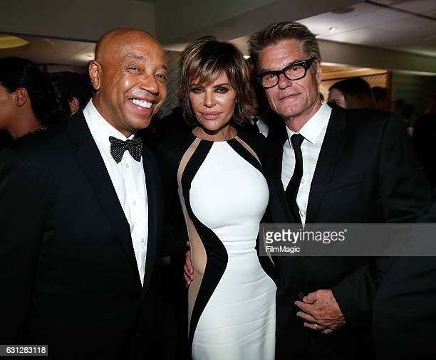 Entrepreneur Russell Simmons and actors Lisa Rinna and Harry Hamlin attend HBO's Official Golden Globe Awards After Party at Circa 55 Restaurant on...