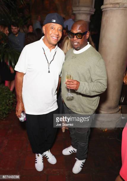 Entrepreneur Russell Simmons and record producer Andre Harrell at Apple Music Launch Party Carpool Karaoke The Series with James Corden on August 7...