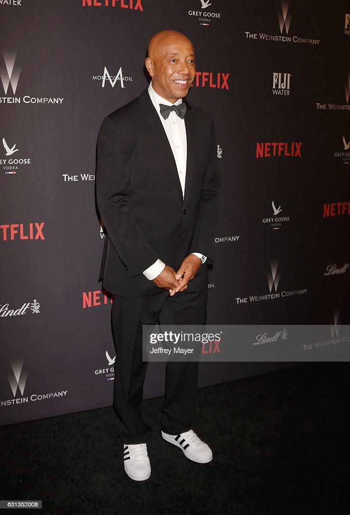 Entrepreneur Russell Simmons attends The Weinstein Company and Netflix Golden Globe Party, presented with FIJI Water, Grey Goose Vodka, Lindt Chocolate, and Moroccan Oil at The Beverly Hilton Hotel on January 8, 2017 in Los Angeles, California