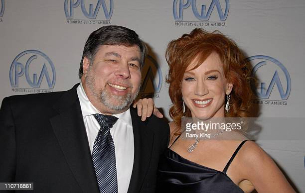 Entrepreneur Steve Wozniak and comedian Kathy Griffin arrive at the 19th Annual Producers Guild Awards held at the Beverly Hilton Hotel on February 2...