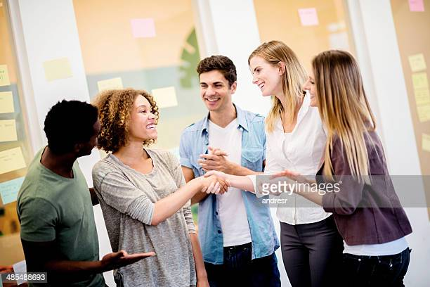 Entrepreneurs handshaking