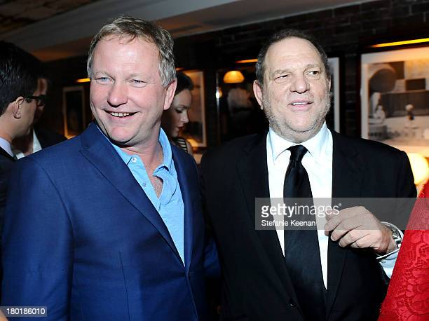 Entrepreneur/Soho House founder and owner Nick Jones and producer Harvey Weinstein at the Grey Goose vodka party for The Weinstein Company and eOne...