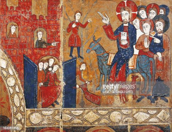 Entry of Christ into Jerusalem Vic workshop 12th century altarpiece from Saint Vicens of Espinelves painting on wood Catalan Romanesque art Vic Museu...