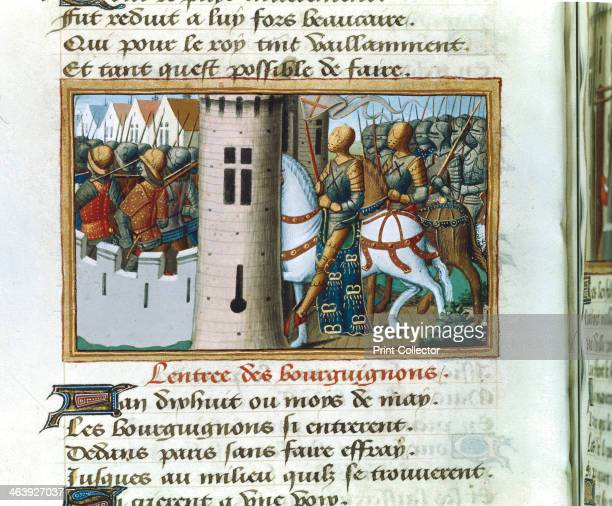 Entry of the Burgundians into Paris 14 May 1418 Illuminated miniature from Vigils of Charles VII in the Chronicles of Jean Chartier edited by Martial...