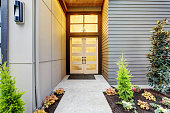 Entry porch of new construction home with contemporary door design in Bellevue, WA.