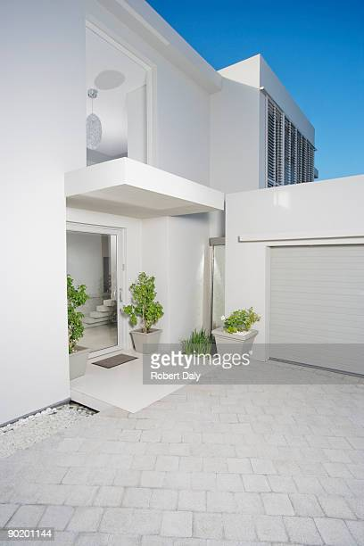 Entryway and garage of modern home