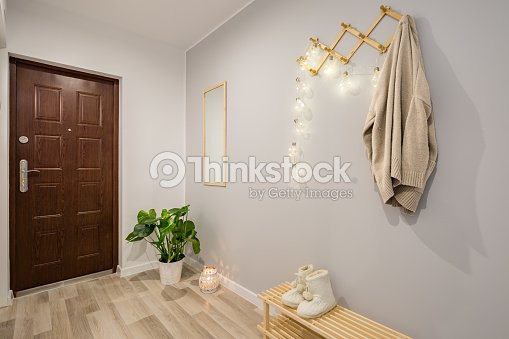 Entryway with gray walls : Stock Photo