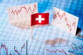 Schweizer Flagge mit Kurstabellen und Grafiken zur wirtschaftlichen Entwicklung.
