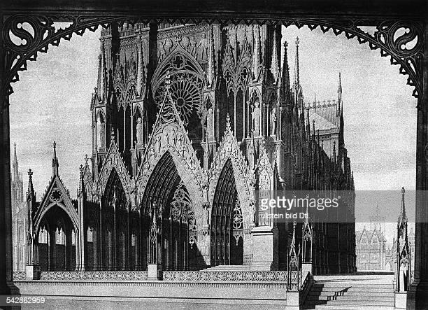 Entwurf Bühnenbild für Theaterstück 'Jungfrau von Orleans' Kathedrale von Reims Kupferstich undatiert