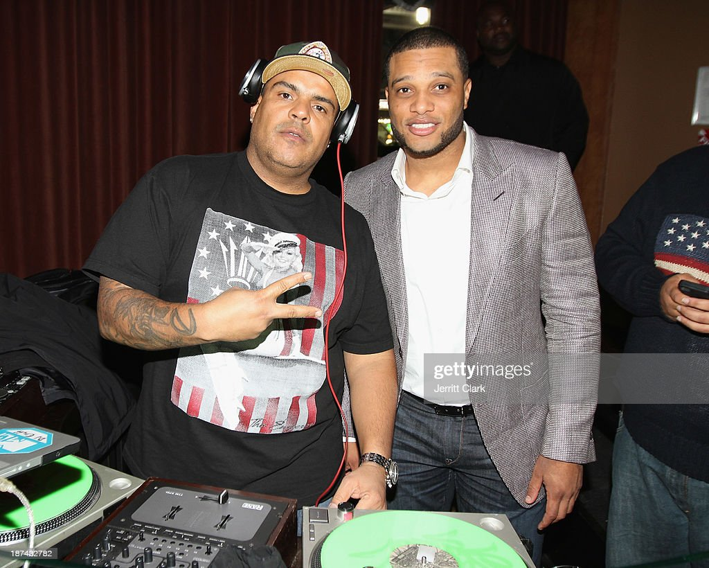 DJ Enuff and Robinson Cano attend the PitCCh In Foundation 2013 Challenge Rules Party at Luxe at Lucky Strike Lanes on November 8, 2013 in New York City.