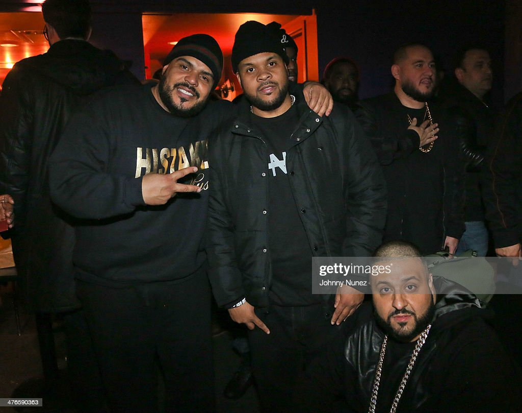 DJ Enuff, Young Savv, DJ Khaled, and DJ Bobby Trends (rear) attend Best Buy Theater on March 3, 2014, in New York City.