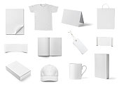 collection of  various white business print templates on white background. each one is shot separately