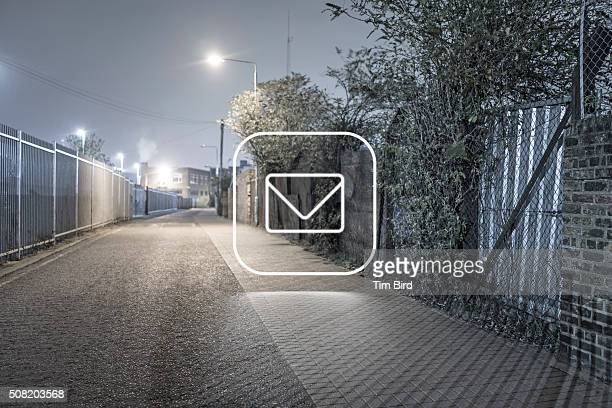 Envelope icon in night scene