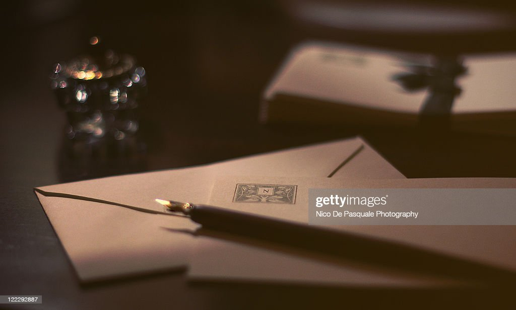 Envelopes and fountain pen : Stock Photo