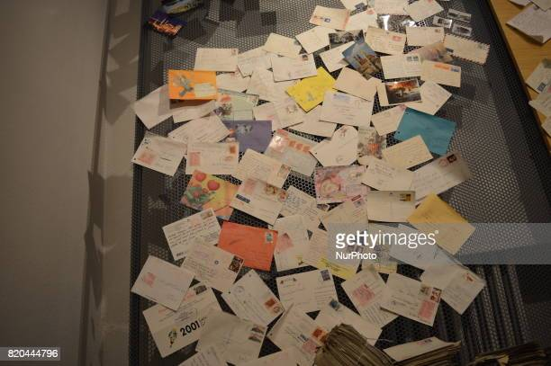 Envelopes are seen posted on a wall at the PTT Stamp Museum in Ankara Turkey on July 21 2017