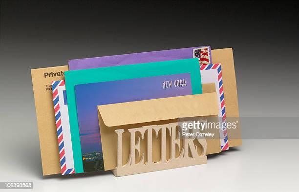 Envelopes in letter rack