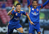 Enver Alivodic of the Jets celebrates a goal during the round five ALeague match between the Newcastle Jets and the Western Sydney Wanderers at...