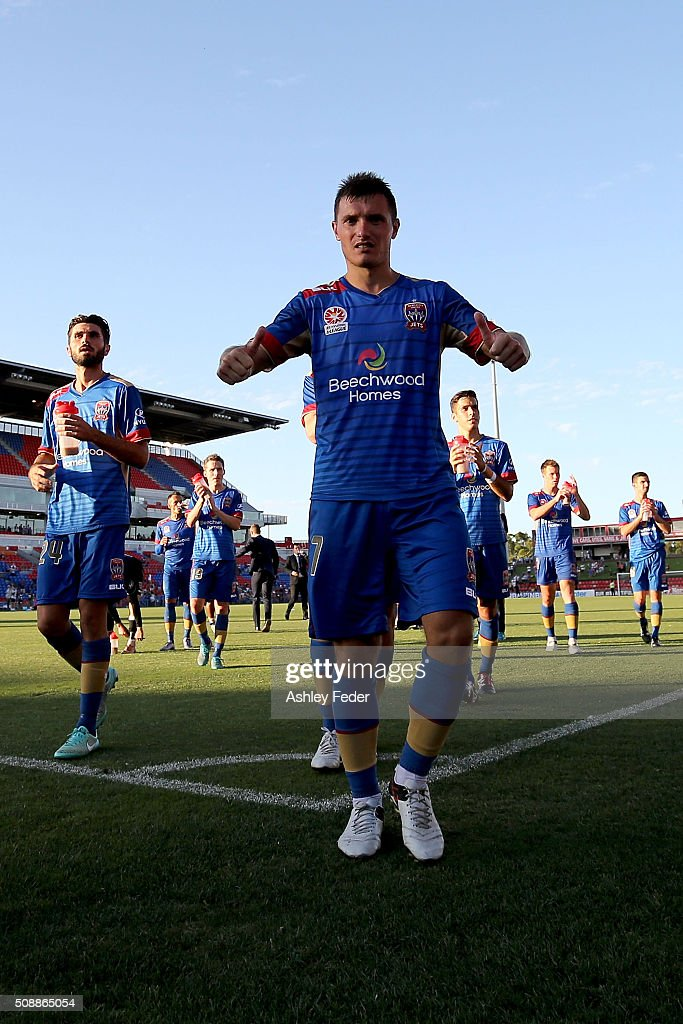 Enver Alivodic of the Jets celebrates the win during the round 18 A-League match between the Newcastle Jets and Melbourne City FC at Hunter Stadium on February 7, 2016 in Newcastle, Australia.