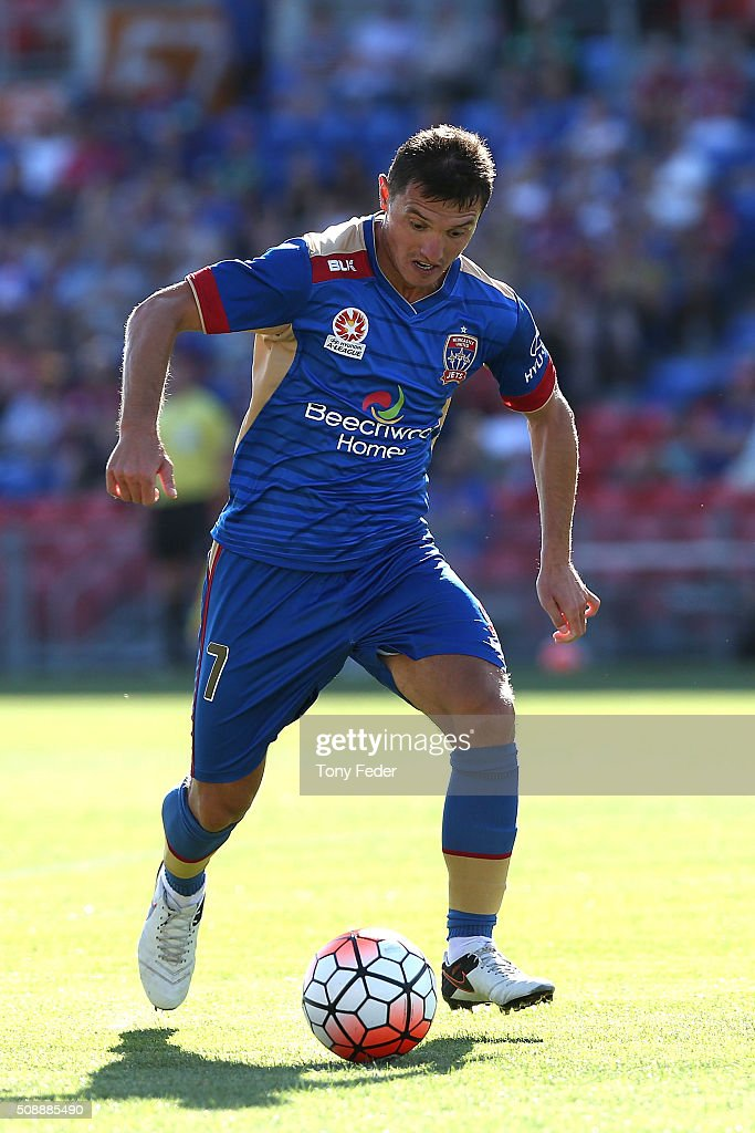 Enver Alivodic of the Jets controls the ball during the round 18 A-League match between the Newcastle Jets and Melbourne City FC at Hunter Stadium on February 7, 2016 in Newcastle, Australia.